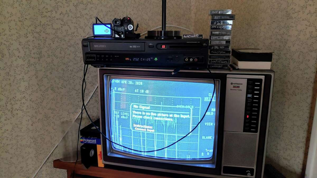 """Old camcorder and converter set up in the """"home editing suite"""" of Curtain Call's executive director Lou Ursone."""