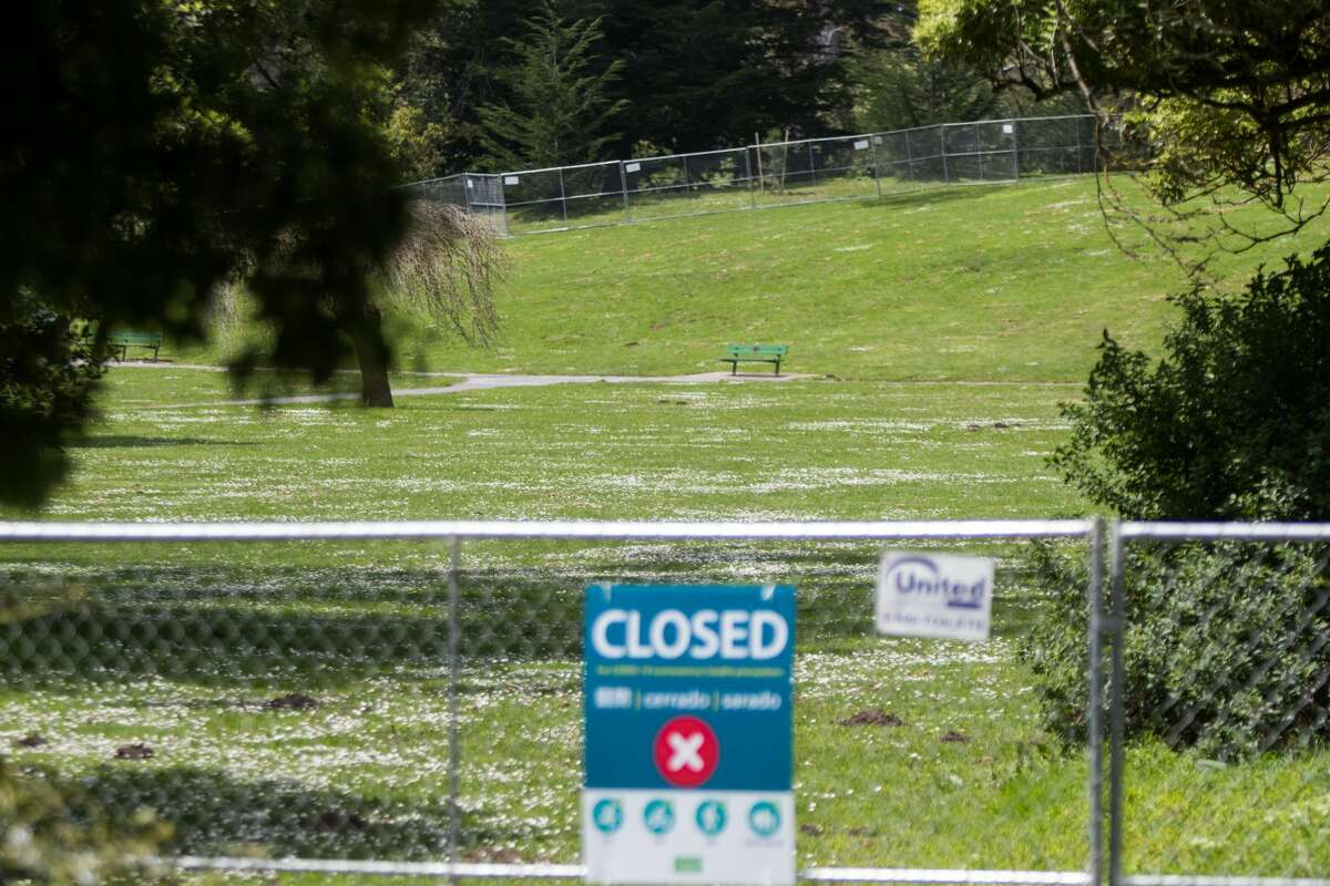 A fenced off section closed public access to Hippie Hill in Golden Gate Park. Due to the COVID-19 coronavirus restrictions on public gatherings, the annual 4/20 celebration at Golden Gate Park Hippie Hill was canceled on April 20, 2020.