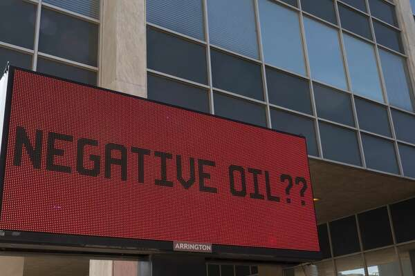 The final price of oil 04/20/2020 was not listed on the digital marquee outside Frost Bank in downtown Midland. Tim Fischer/Reporter-Telegram