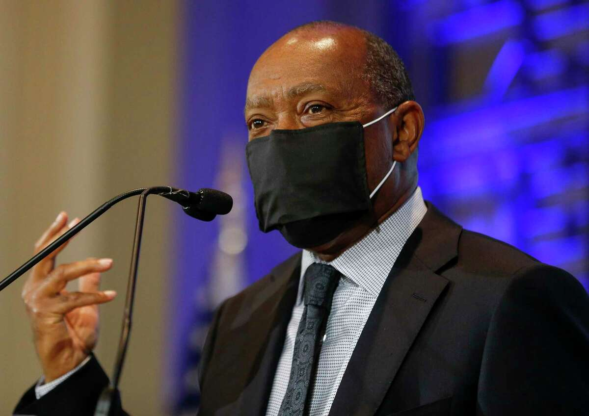 """Mayor Sylvester Turner, shown here April 20, unveiled his proposed fiscal 2021 city budget Tuesday, calling for furloughs and a completed draw-down of the city's """"rainy day funds."""""""