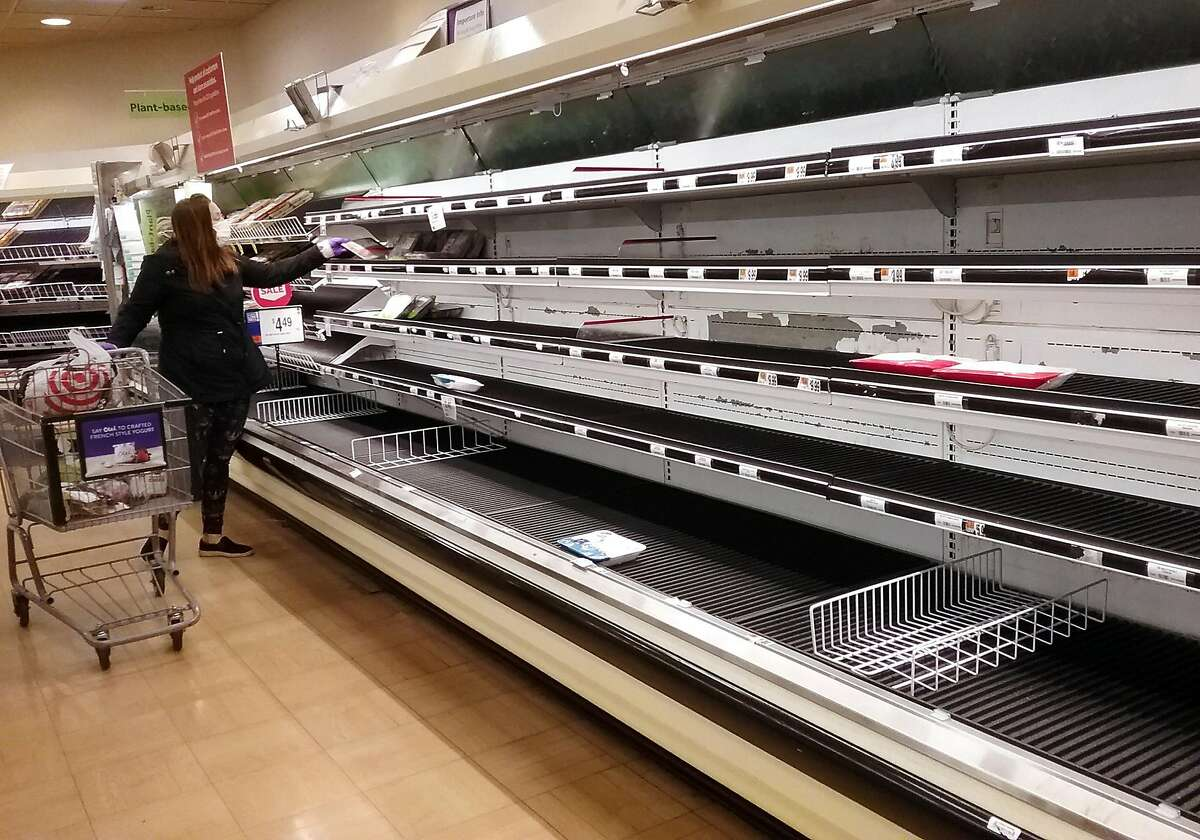 One of the meat isles is empty at Stop & Shop in Milford, Conn., on Saturday Apr. 18, 2020. Due to outbreaks of the coronavirus at several large processing plants, meat product supply around the country is being disrupted.