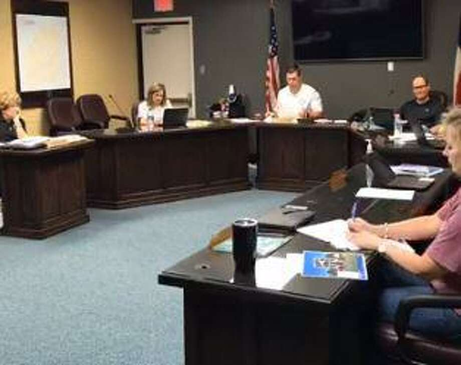 Nederland ISD board of trustees meets on 4/20/2020. Photo: Isaac Windes / NISD / Facebook Live