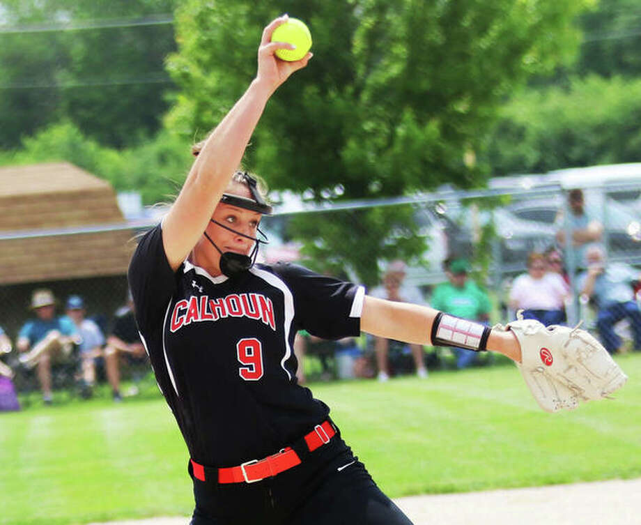 Calhoun's Sydney Baalman delivers a pitch to the plate during her one-hitter to shut out top-ranked Windsor 1-0 last season in the Springfield Class 1A Super-Sectional. Baalman averaged more than two strikeouts per inning as a junior while going 24-4 with a 0.93 ERA. Photo: Greg Shashack / The Telegraph