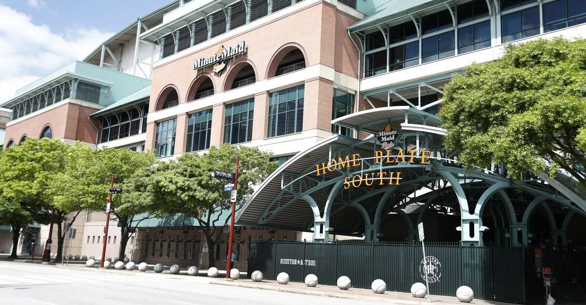 Exterior of Minute Maid Park, in Houston,Thursday, March 12, 2020.