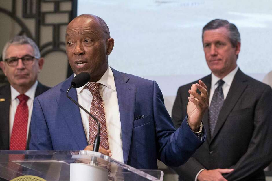 Mayor Sylvester Turner announces the opening of the City of Houston's first drive-thru testing site during a news conference on Friday, March 20, 2020 in Houston.