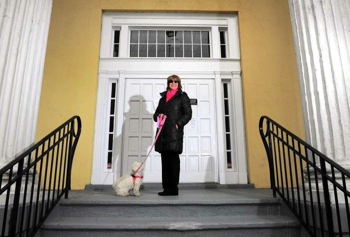 Westport/Weston Probate Judge Lisa Wexler, and her dog Shaina, at Westport Town Hall in Westport, Conn., on Friday Apr. 17, 2020.