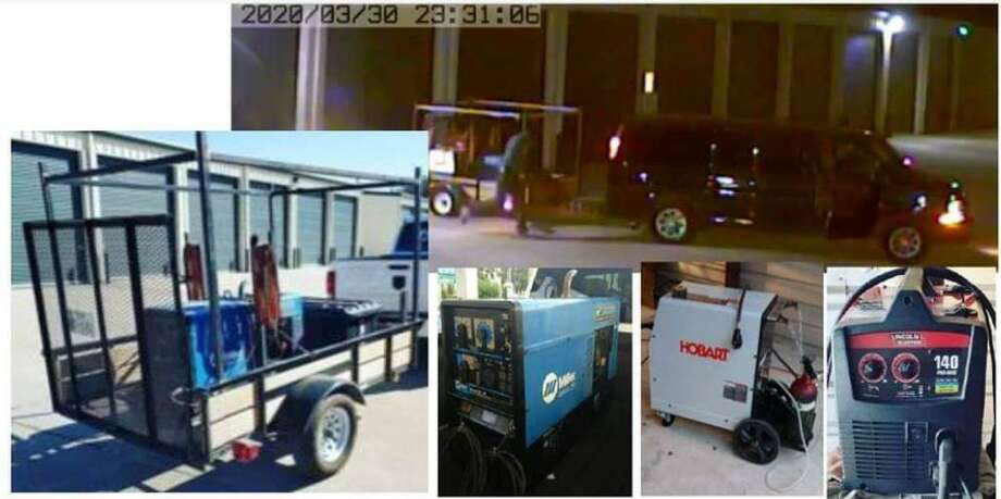 Surveillance photos show the items stolen from a Spring storage facility in early April, and the getaway vehicle. Photo: Courtesy Of The Montgomery County Sheriff's Office
