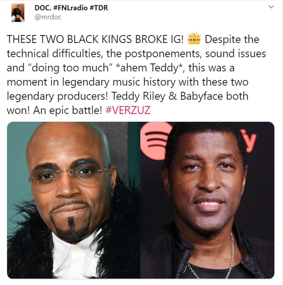 Award-winning producers Teddy Riley and Babyface had their rematch battle on Instagram Live Monday night.