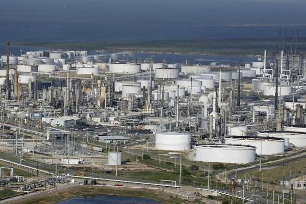 In a Thursday, Sept. 11, 2008 photo, a Marathon Oil Co. petrochemical facility is shown in Texas City, Texas.