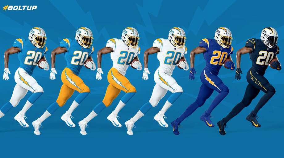 1. Los Angeles ChargersThe powder-blue jerseys will never not be fire, and all the combinations are A-plus. Adding the numbers to the helmets also is a cool old-school touch.(BUY HERE) Photo: Los Angeles Chargers