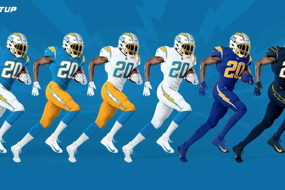 The Los Angeles Chargers' new uniforms for the 2020 season.