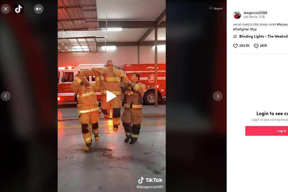 A group of Laredo firefighters went viral on social media after taking on the 'Blinding Lights' dance challenge. Photo: TikTok