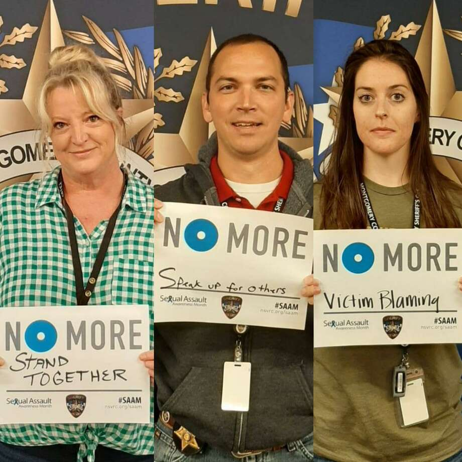 "Staff members of the Montgomery County Sheriff's Office display signs in support of the ""No More"" anti-sexual assault campaign in photos taken during April 2020. Photo: Courtesy Of The Montgomery County Sheriff's Office"