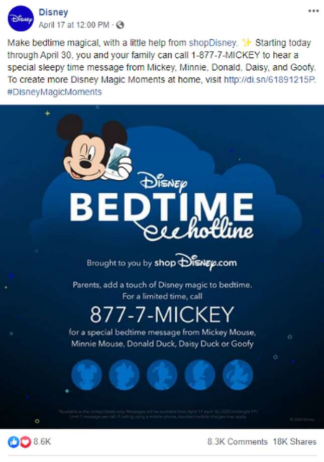 From now until April 30, families can hear messages from their favorite Disney characters by calling the toll-free hotline at 1-877-7-MICKEY. Photo: Screenshot Facebook