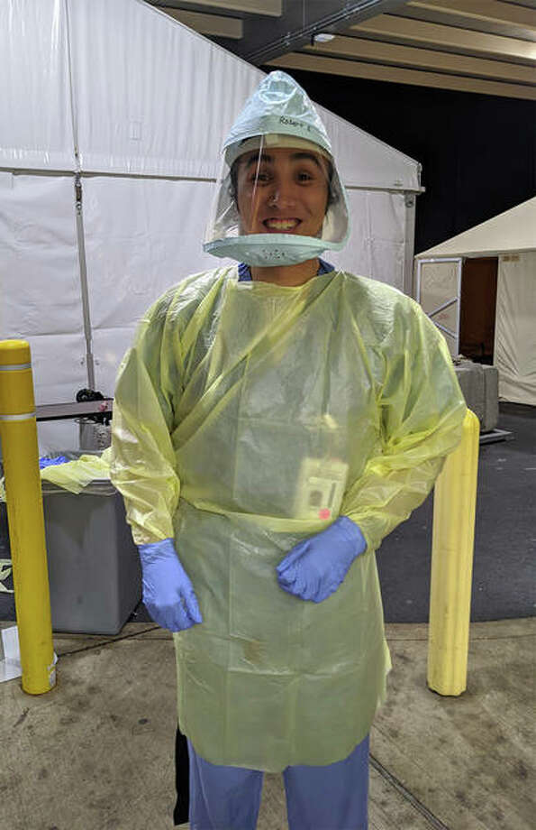 SIUE School of Nursing alumnus Robert Ehrhardt is a registered nurse serving on the front lines of the COVID-19 pandemic in the Emergency Department at DePaul Hospital in Bridgeton, Mo.