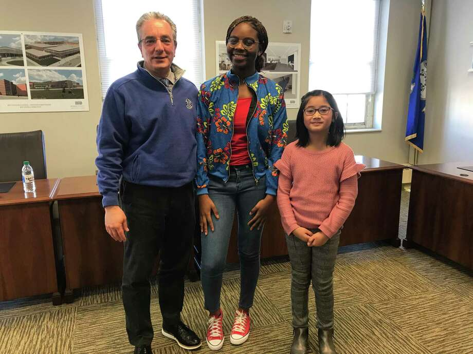M-u-l-t-i-p-l-i-c-a-t-i-o-n was the winning word for 8th-grader Dana Davis at the 41st Annual West Haven School District Spelling Bee for grades 5-8 held in January. Davis, the school champion from Harry Bailey Middle School School, defeated seven other competitors including the May V Carrigan Intermediate School Spelling Bee Champion, 5th Grader Martha Agustin. Superintendent of Schools Neil C. Cavallaro, supervised the event, carefully reading out each of the words from the 2020 Scripps Spelling Competition List. Judges were veteran spelling bee coordinators Jamey Sitro from Carrigan with teachers Sean Griffin and Matthew DiGoia from Bailey. The individual school PTAs awarded $50 Barnes and Noble gift certificates to their school winners. This year's event was dedicated to the memory of Ralph Eberle, former PTA Chairperson for West Haven Schools. Davis and Agustin will be invited to the Connecticut statewide competition representing their schools, which will be sponsored by the Noah Webster House Historical Society in West Hartford. Photo: Contributed Photo