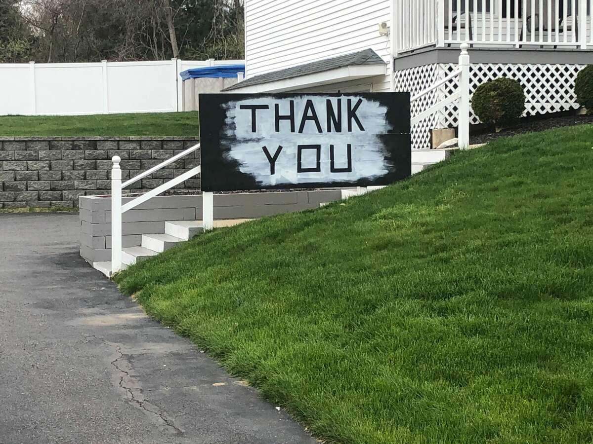 Signs of encouragement in Ansonia, Conn. during the coronavirus shutdown, spring 2020.