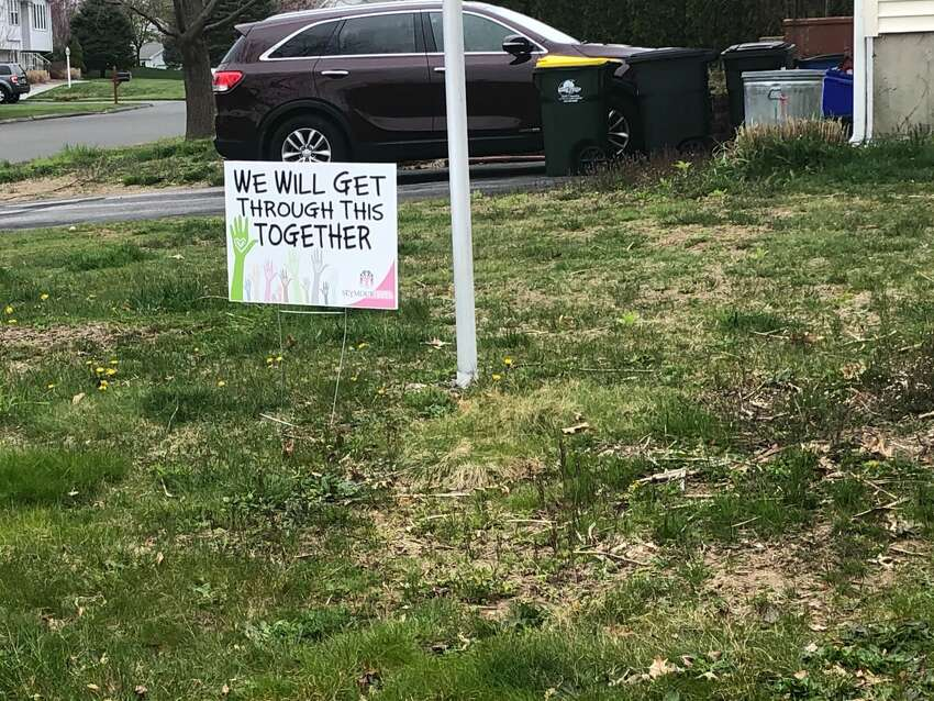 Signs of encouragement in Ansonia, Conn. during the coronavirus shutdown, spring 2020.