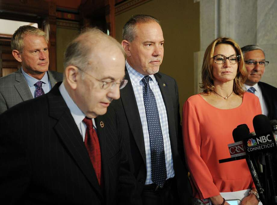 From left; Sen. Kevin Witkos, R-Canton, Senate President Martin Looney, D- New Haven, Rep. Joe Aresimowicz, D- Berlin, House Minority Leader Themis Klarides, R- Derby, discussed budget negotiations in a 2017 file photo. Photo: Brian A. Pounds / Hearst Connecticut Media / Connecticut Post