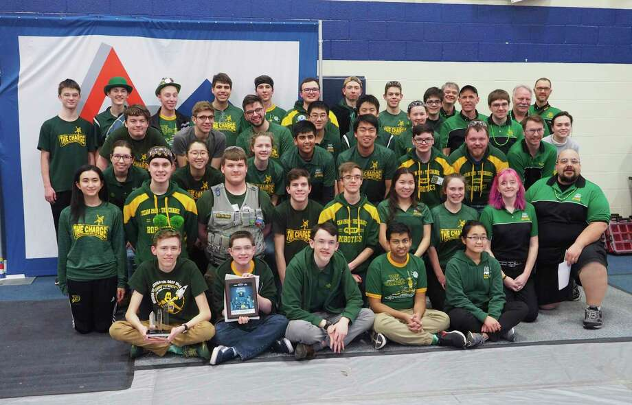 """Dow High's Team 2619 """"The Charge""""received the Gracious Professionalism Award atthe St. Joseph District competition in early March. (Photo provided)"""