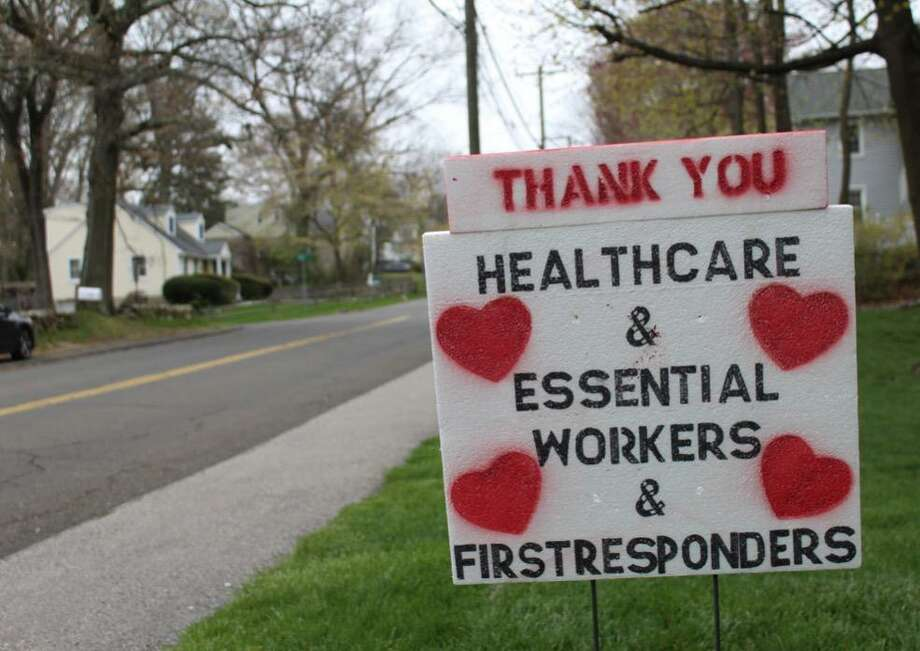 Sign made by the Sawitskys to show support for local workers. Photo: Kate Dempsey