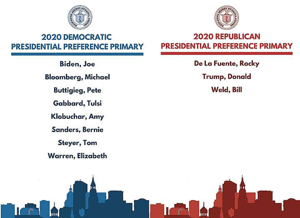 Original listing of candidates on the ballots for the Democratic and Republican Presidential Primaries which will take place in Connecticut on Tuesday, Aug. 11. The listing has since changed.