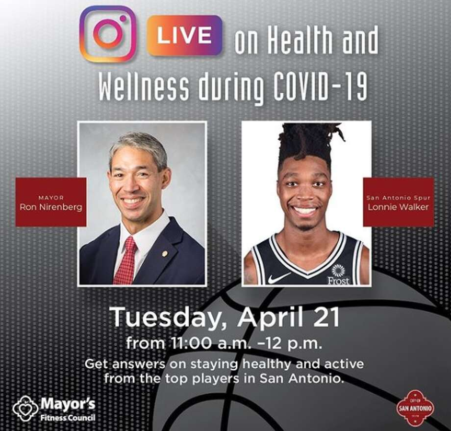 "San Antonio Mayor Ron Nirenberg hosted his first Instagram live chat Tuesday afternoon with Lonnie Walker, who he called the ""most interesting man"" in the city, to discuss physical and mental health during periods of isolation brought on by the coronavirus pandemic. Photo: Instagram Screenshot"