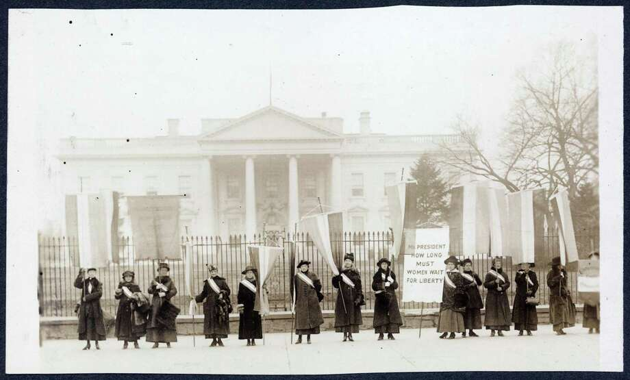 Members of the National Woman's Party picket the White House during the fight for a woman's right to vote. Photo: Library Of Congress / Wilton Bulletin Contributed