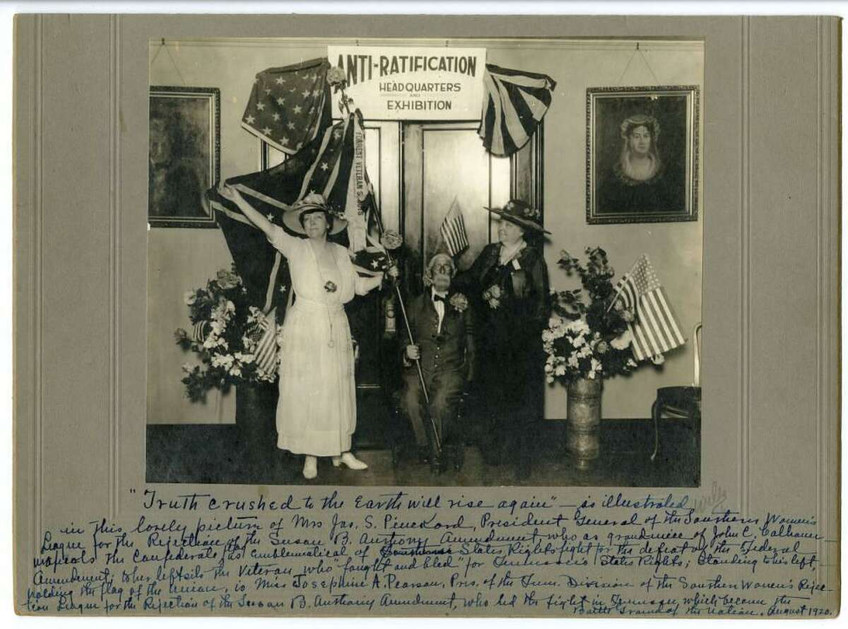 The opening of the Tennessee Anti-Suffrage headquarters at the Hermitage Hotel in Nashville in 1920.