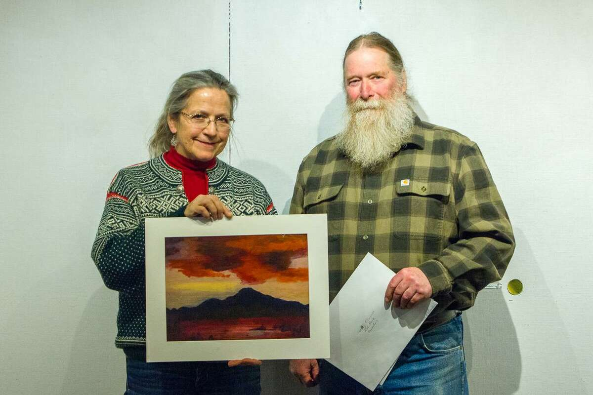 """Molly O'Connor of Housatonic Valley Regional High School in Falls Village was among the students who participated in the show. Her entry, """"Red Dusk,"""" was presented by adviser Janet Johnson to show chairman Michael Spross."""