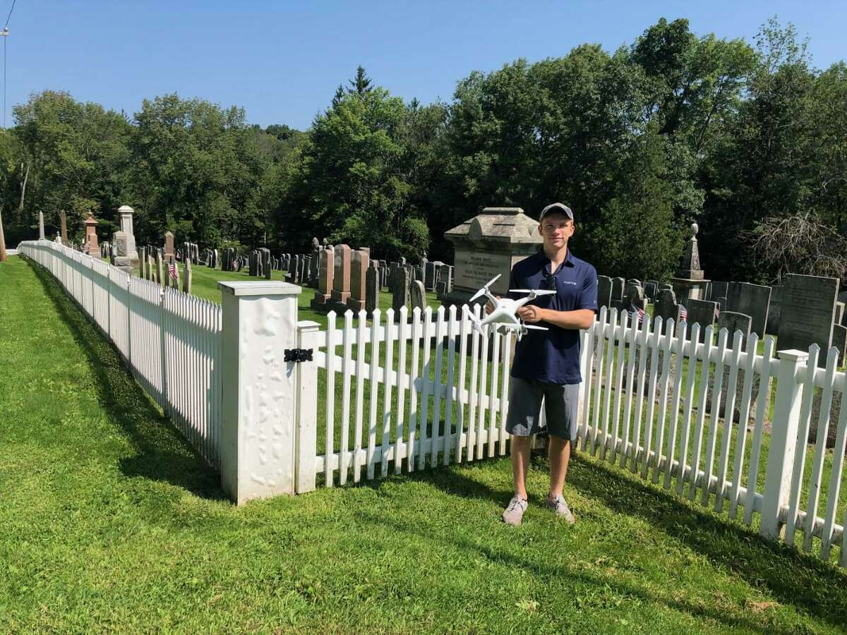Spectrum/William Neary used a drone to make digital images of the Old Warren Center Cemetery as part of a digital mapping program for the site. April 2020