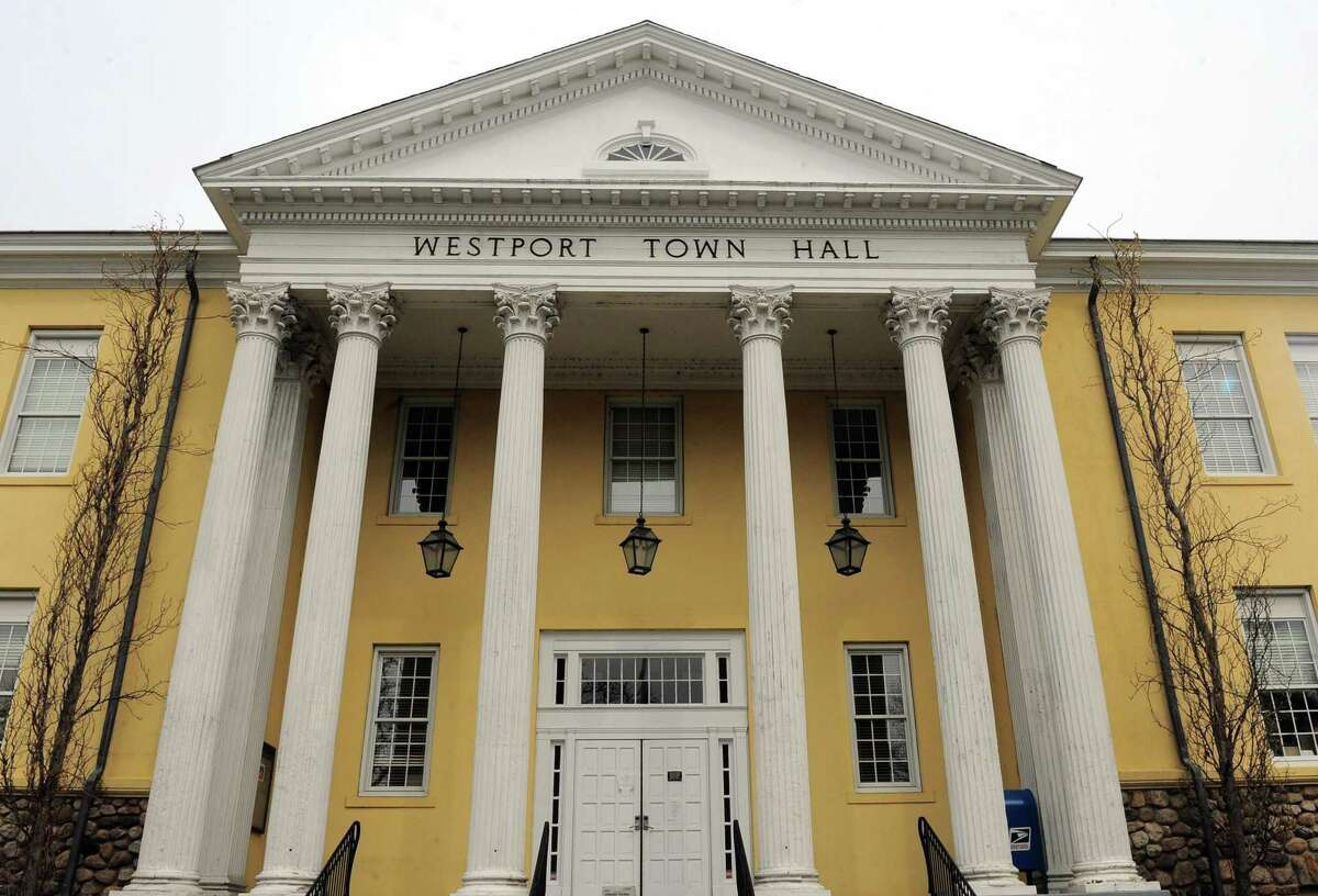 An exterior of Westport Town Hall in Westport, Conn., on Friday Apr. 17, 2020. The building has been closed to the public since min-March due to the coronavirus.