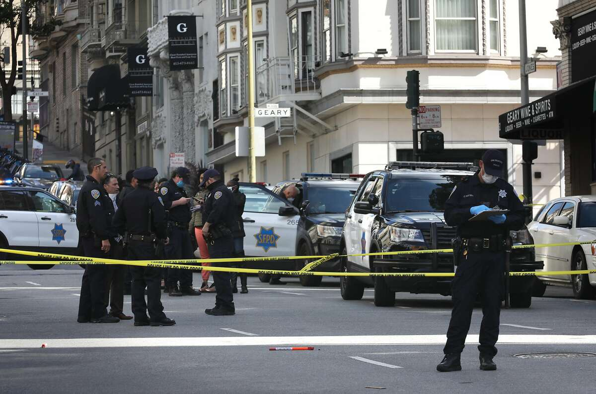 Police on scene on the 500 Block of Jones Street where gunshots were heard early this morning on Tuesday, April 21, 2020, in San Francisco, Calif.