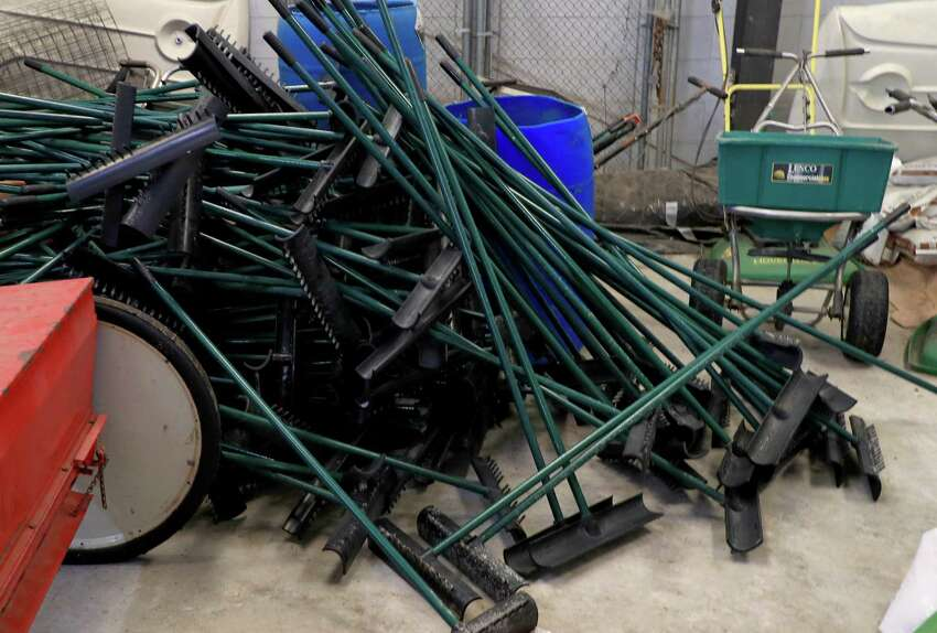 TAMPA, FLORIDA - MARCH 28: Bunker rakes sit in a maintenance shed to avoid outside contact as golf courses change their protocols in response to the coronavirus pandemic at Westchase Golf Club on March 28, 2020 in Tampa, Florida. Confirmed cases of the novel COVID-19 coronavirus in Florida soared past 3,000 Friday, according to the Florida Department of Health. (Photo by Mike Ehrmann/Getty Images)