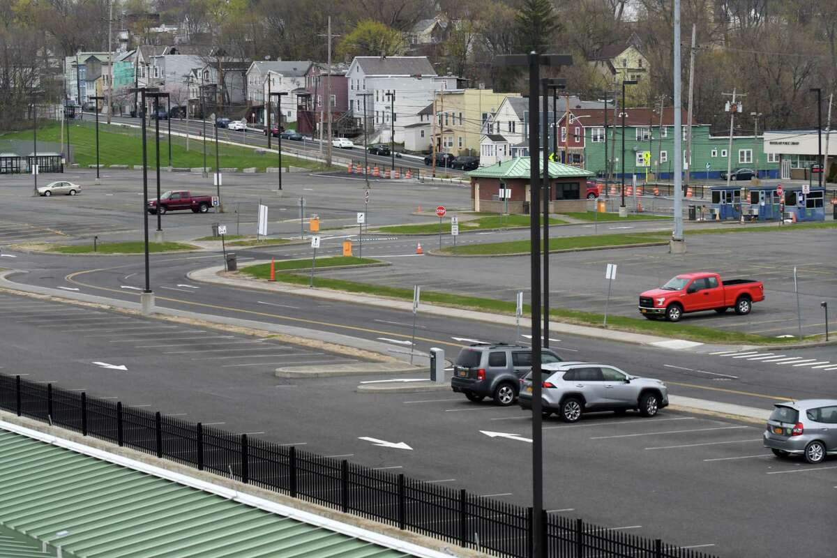 The Albany-Rensselaer rail station parking lot is nearly empty on Tuesday, April 21, 2020, in Rensselaer, N.Y. (Will Waldron/Times Union)