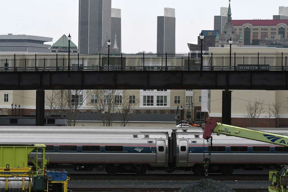 Amtrak carriages are parked at the Albany-Rensselaer rail station on Tuesday, April 21, 2020, in Rensselaer, N.Y. (Will Waldron/Times Union)