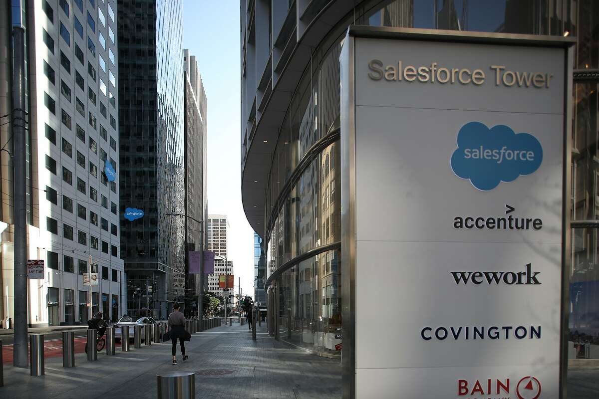 Salesforce buildings seen on Tuesday, April 21, 2020, in San Francisco, Calif.