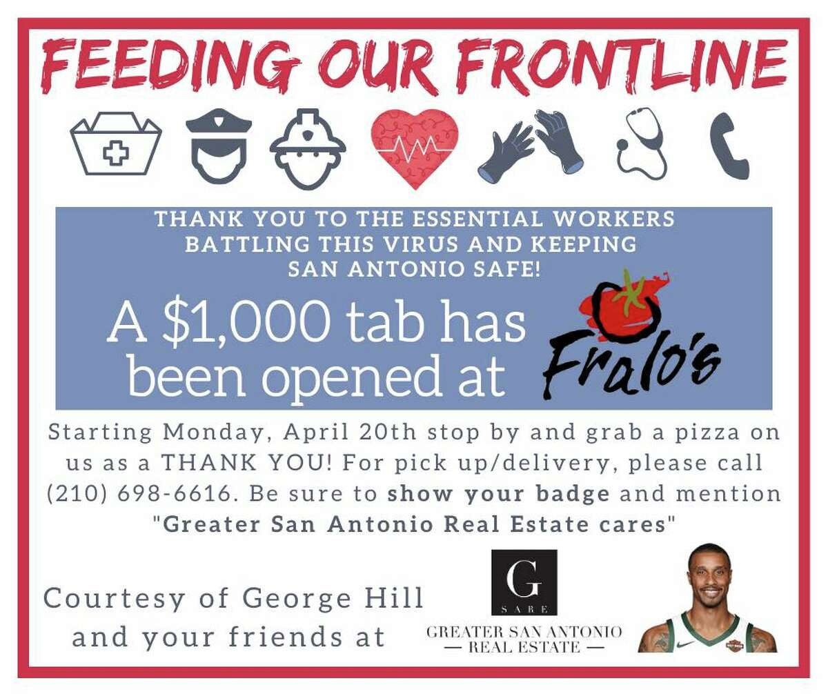 Just because former Spurs player George Hill doesn't reside in the Alamo City anymore, he is still supporting San Antonio by giving free pizza to those on the frontlines fighting the COVID-19 pandemic.