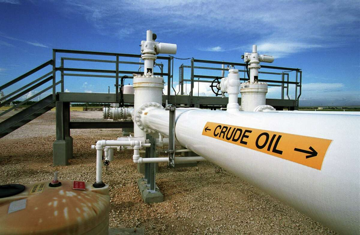 A pipeline carries oil at the Federal Strategic Petroleum Reserve facility known as Big Hill near Beaumont, Texas. President Donald Trump is again calling for the U.S. to buy oil to fill emergency stockpile to help provide some relief to domestic oil companies.