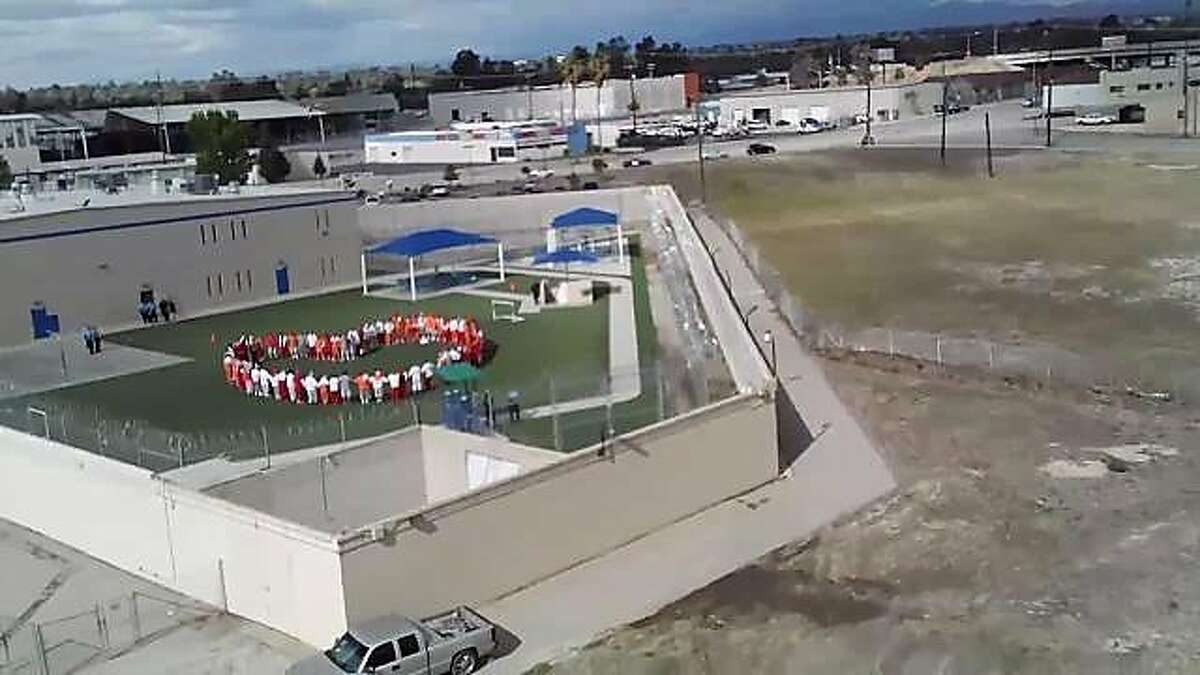 Hunger strikers at Mesa Verde ICE Processing Center in Bakersfield were photographed by a drone April 10. (Courtesy California Committee for Immigrant Liberation/Los Angeles Times/TNS)