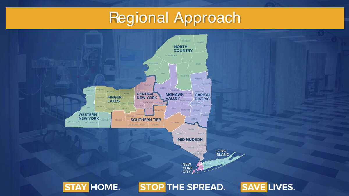 Gov. Andrew Cuomo used a PowerPoint slide to show a map of New York depicting 10 regions and each, he said, will be subject to different analysis on when and how to reopen businesses and schools.