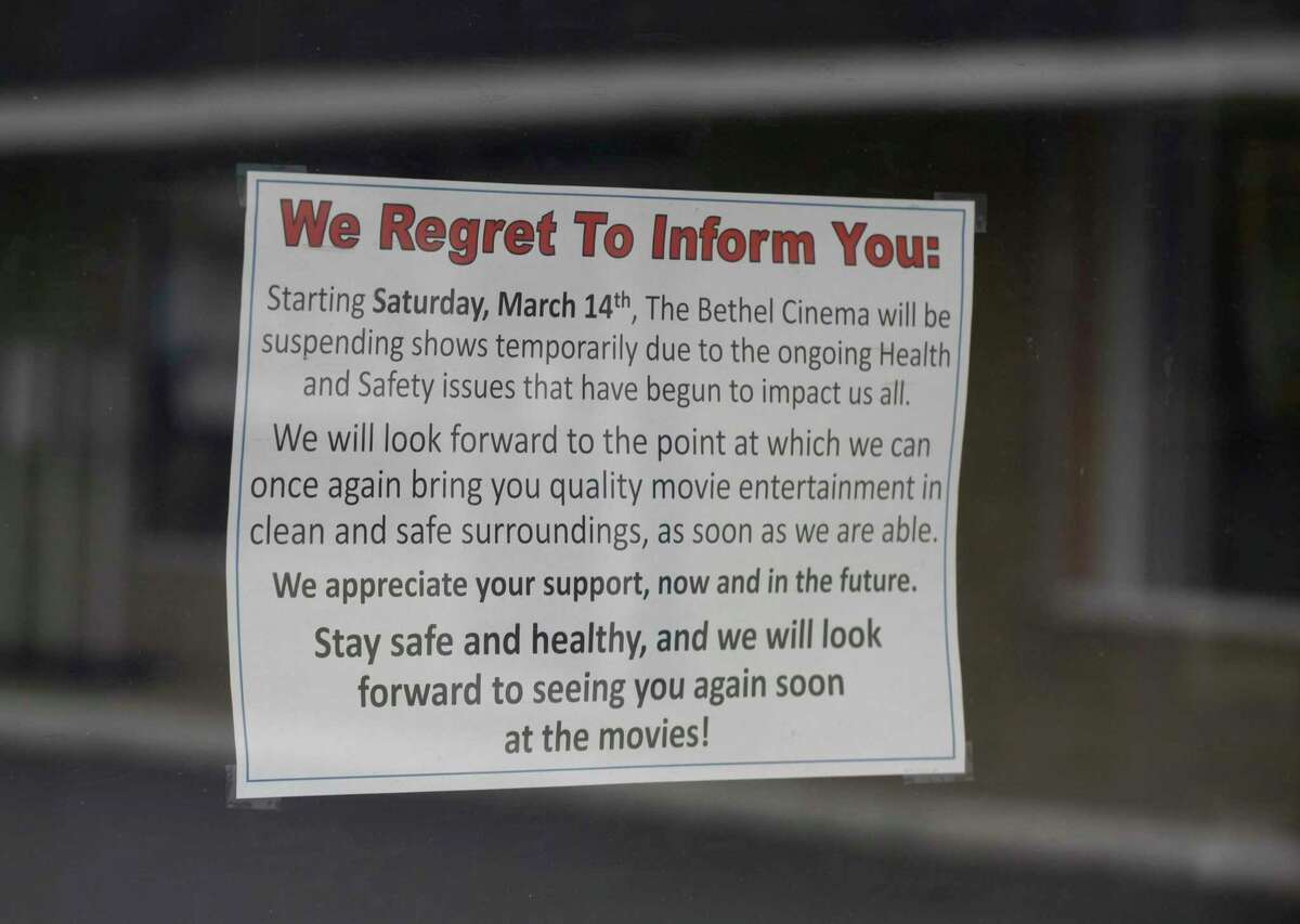 A sign at the Bethel Cinema, photographed on April 21.