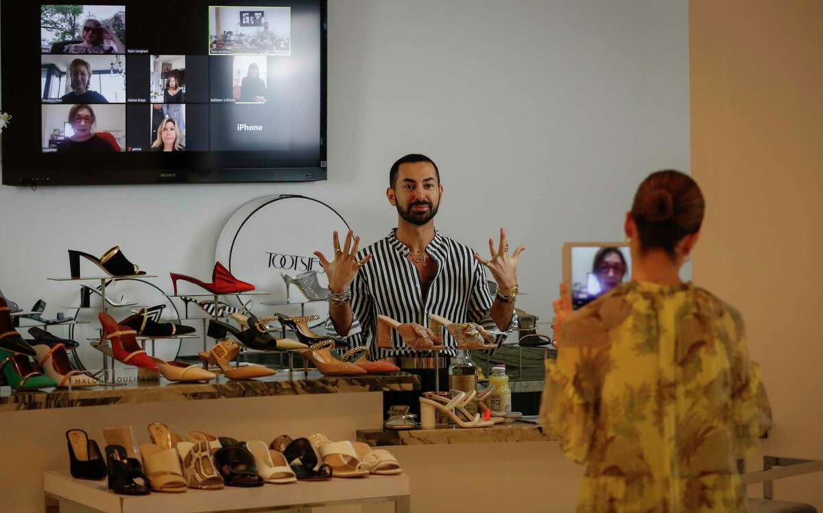 Tootsies creative director Fady Armanious host a Moscow mules and mule-style shoes online happy hour Friday, April 3, 2020, in Houston.