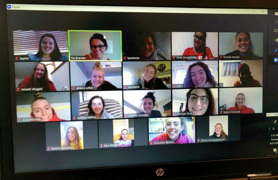 Members of the Ferris State volleyball team have been using Zoom for weekly video conference calls to stay connected under the current stay-at-home order. (Courtesy photo/Tia Brandel-Wilhelm)
