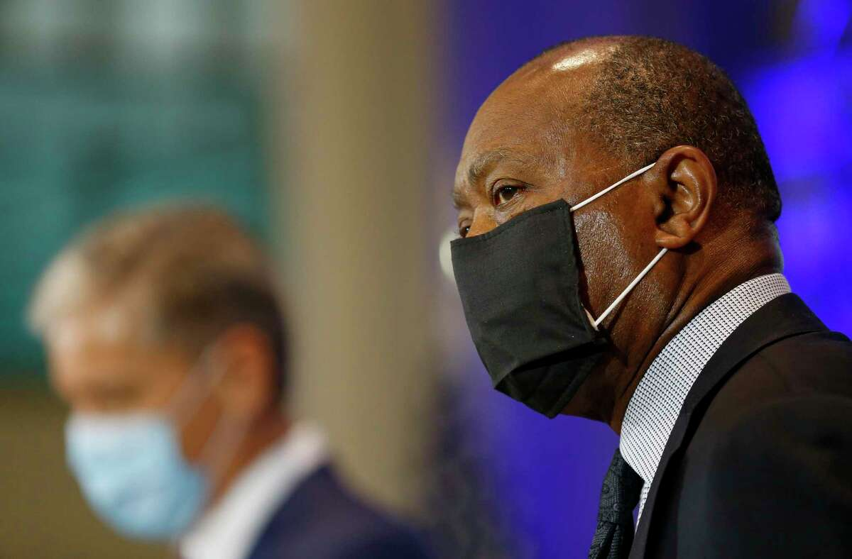 Mayor Sylvester Turner, shown here Monday, said he has asked federal officials for more flexibility to use CARES Act funds to help close a widening city budget gap.