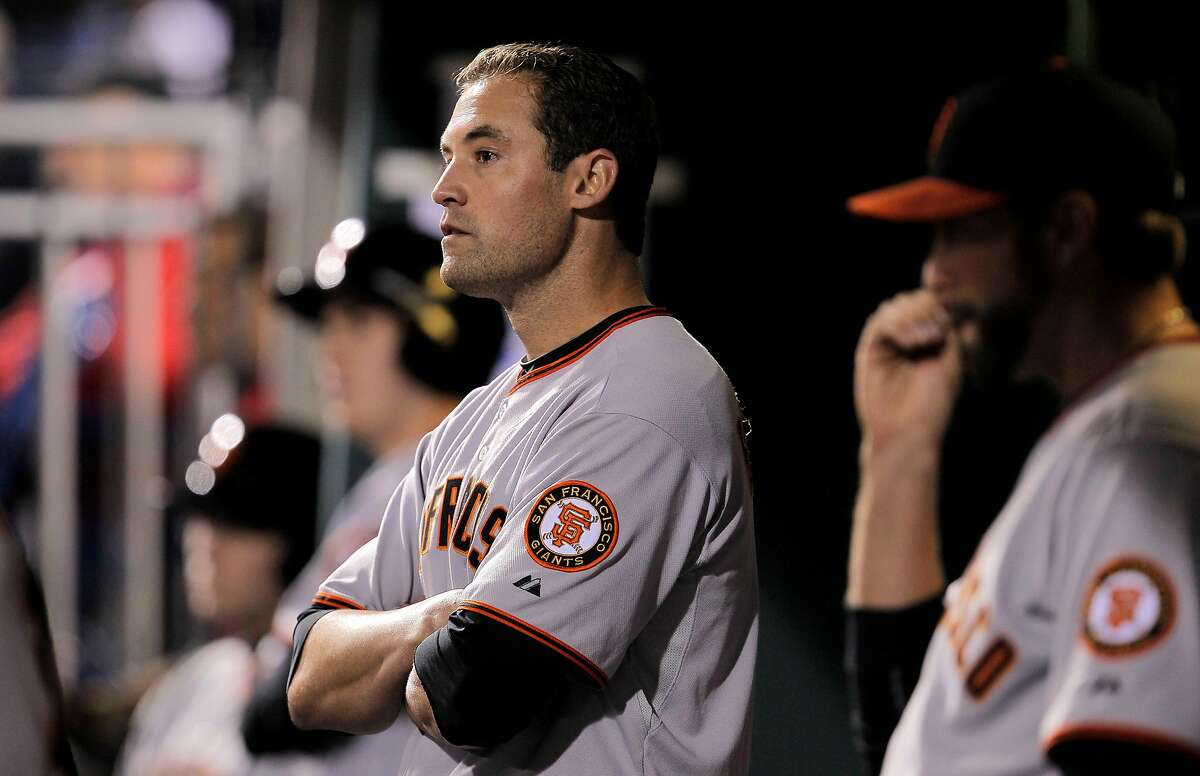 Giants Pat Burrell watches as the last out is made to end the game, as the San Francisco Giants fall to the Philadelphia Phillies 6-1 in game 2 of the National League Championship Series, on Sunday Oct. 17, 2010 at Citizens Bank Park, in Philadelphia, Pa.