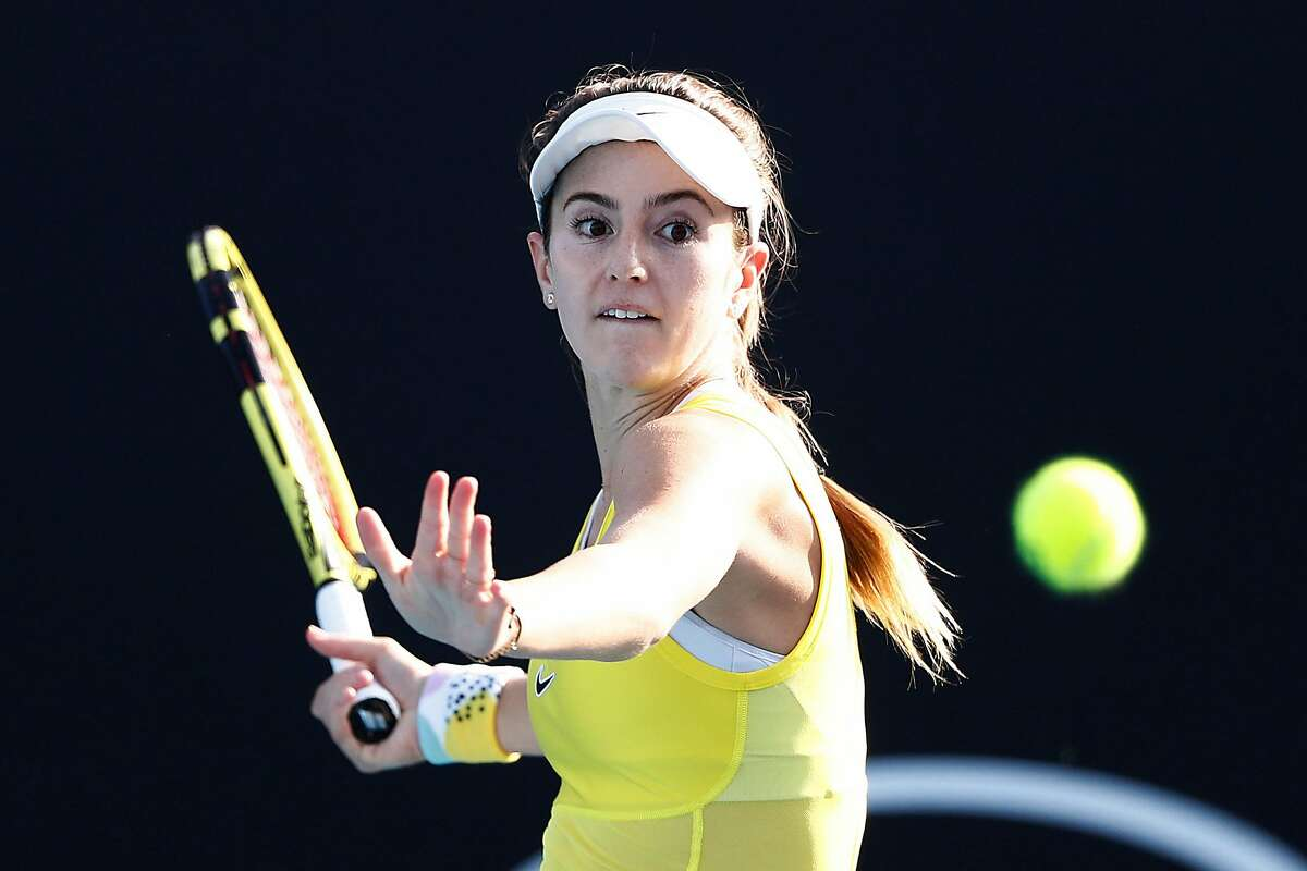 MELBOURNE, AUSTRALIA - JANUARY 21: Catherine Bellis of the United States plays a forehand during her Women's Singles first round match against Tatjana Maria of Germany on day two of the 2020 Australian Open at Melbourne Park on January 21, 2020 in Melbou