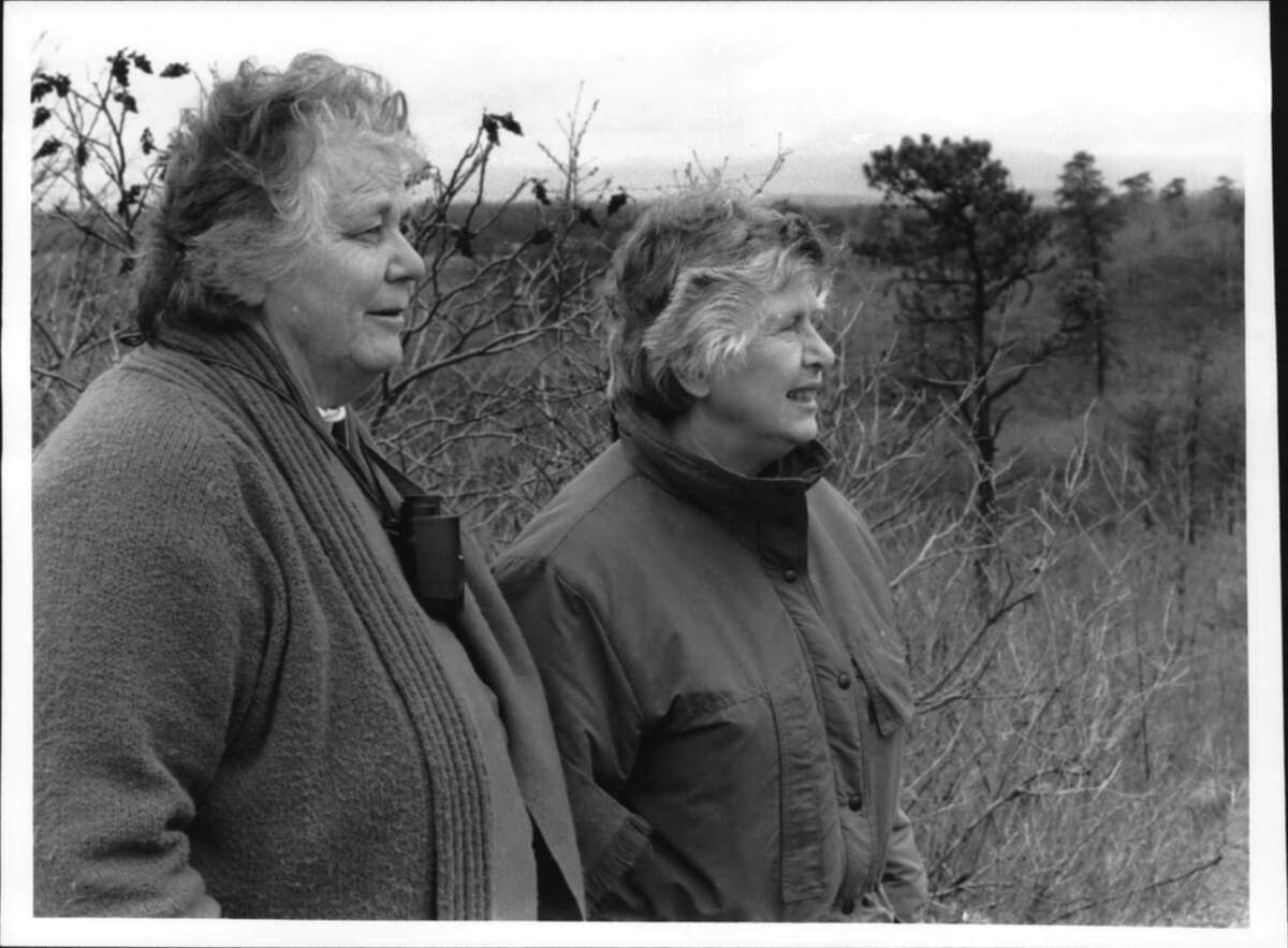 Claire Schmitt & Mary Brennan in Pine Bush, Albany, New York. They wrote a book on Natural Areas of Albany County. April 22, 1991 (Dennis J. Michalski/Times Union Archive)