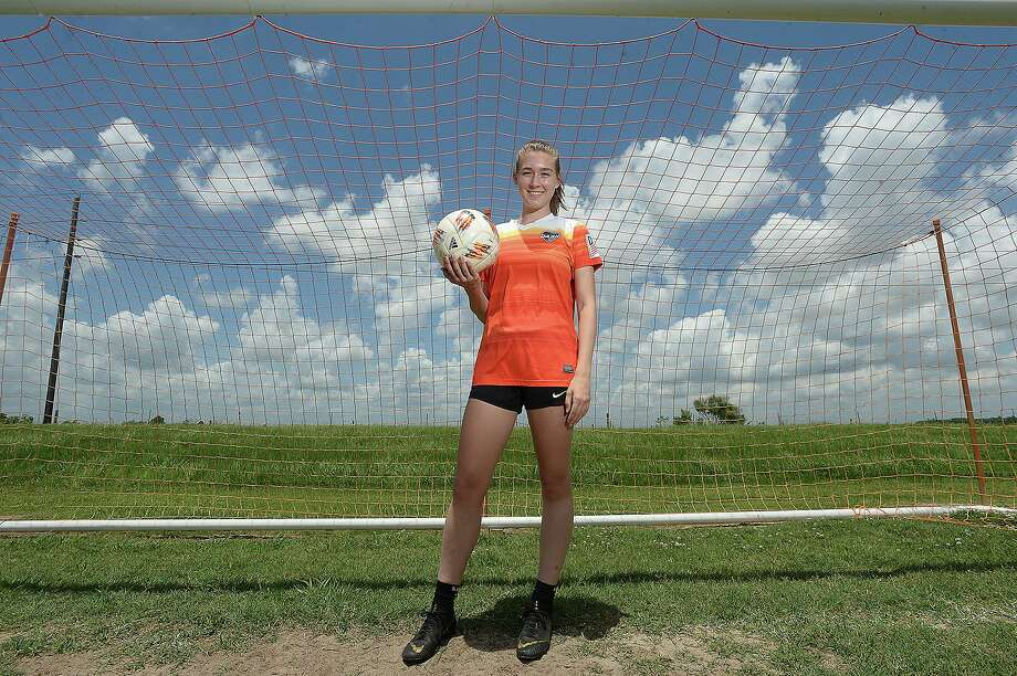 Port Neches - Groves senior Grace Seymour will be taking her soccer skills to Mississippi State next year after playing her last two years of high school with the Houston DASH soccer club.  Photo taken Saturday, May 25, 2019 Kim Brent/The Enterprise Photo: Kim Brent / The Enterprise / BEN