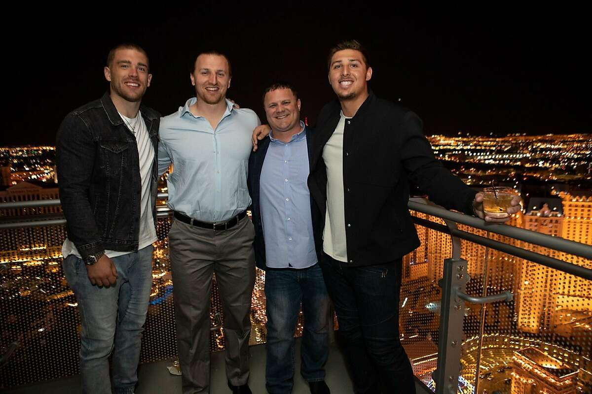 Agent Steve Caric (third from left) and three of his clients, all NFL tight ends (from L-R): Zach Ertz, Logan Paulsen and Austin Hooper.